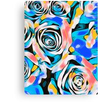 blue pink white and yellow roses Canvas Print