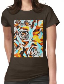 blue orange white and yellow roses Womens Fitted T-Shirt