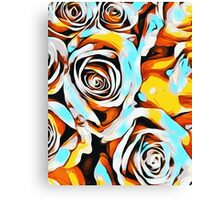 blue orange white and yellow roses Canvas Print