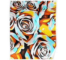 blue orange white and yellow roses Poster