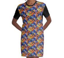 Glass Flowers Graphic T-Shirt Dress