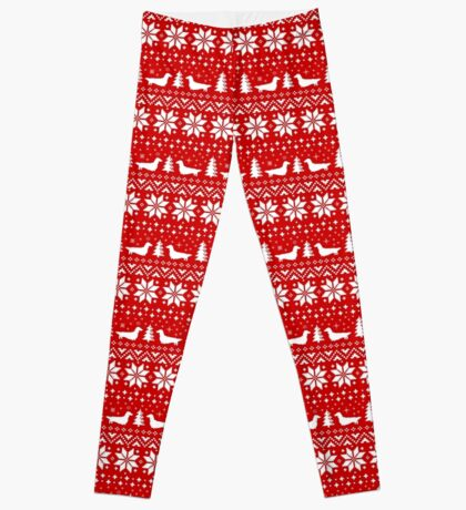Long Haired Dachshund Silhouettes Christmas Sweater Pattern Leggings