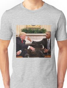 Obama give the finger to Trump Unisex T-Shirt
