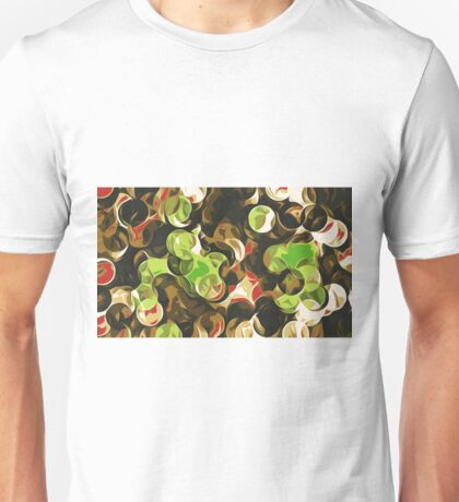 green brown and red circle pattern Unisex T-Shirt