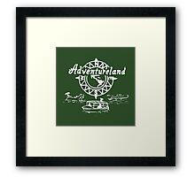 Vintage Stamped Adventureland white Framed Print