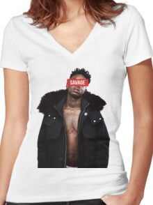 21 Savage - Savage Women's Fitted V-Neck T-Shirt