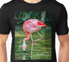Pretty Pink Flamingo having a drink of water Unisex T-Shirt
