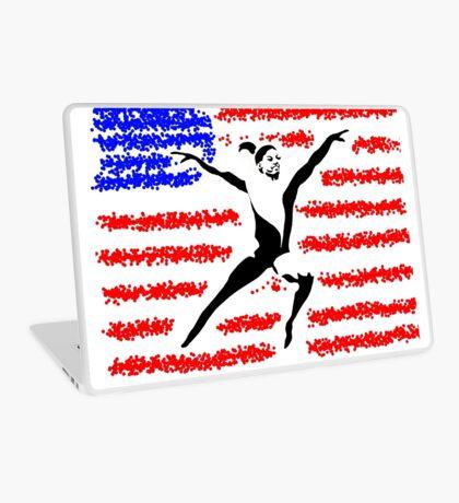 Simone Biles Olympics Leap USA Flag Laptop Skin