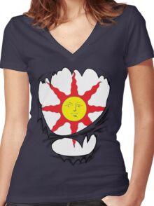 3D praise the sun logo Women's Fitted V-Neck T-Shirt