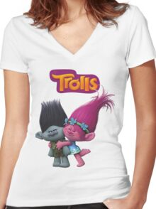 trolls poppy and branch Women's Fitted V-Neck T-Shirt