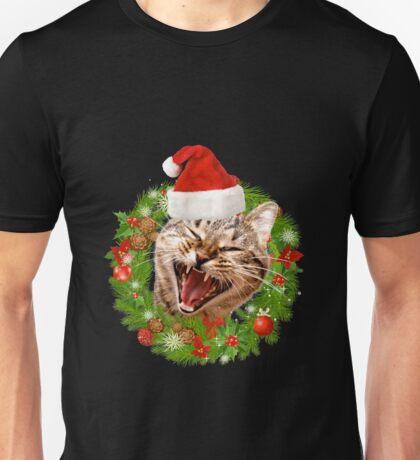 Crazy Christmas Cat Unisex T-Shirt