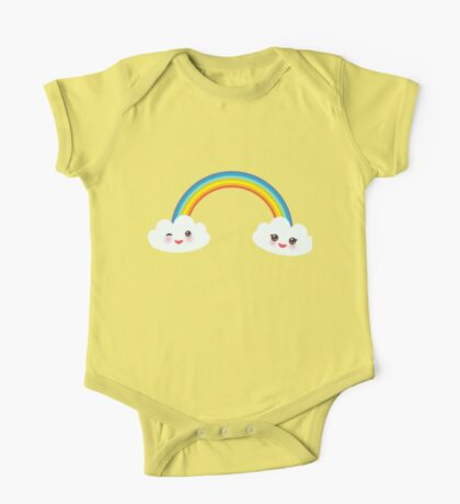 Happy rainbow and clouds One Piece - Short Sleeve