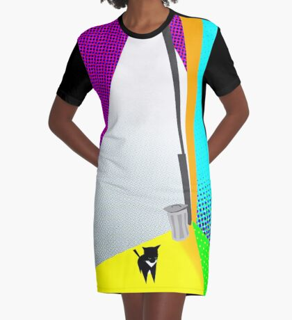 Street Cat Pop Graphic T-Shirt Dress