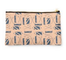 Blue and Pink Barber Pattern Studio Pouch