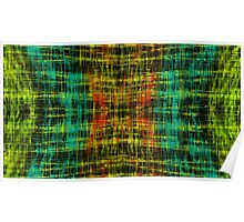 orange blue yellow and green line pattern Poster