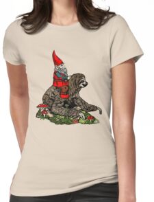Gnome Riding a Sloth Womens Fitted T-Shirt