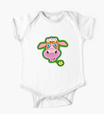 Cute Cow with Bohemian Flower Crown  One Piece - Short Sleeve
