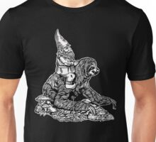 Gnome Riding a Sloth Black and White edition Unisex T-Shirt