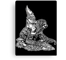 Gnome Riding a Sloth Black and White edition Canvas Print