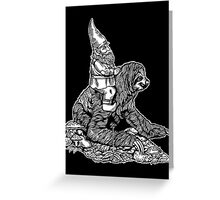 Gnome Riding a Sloth Black and White edition Greeting Card