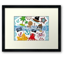 Happy Birthday Card pirate Framed Print