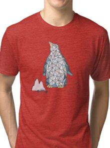 Pattern with little cute penguins on blue background Tri-blend T-Shirt