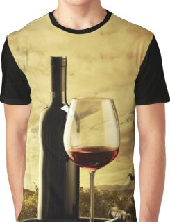 A Grape Vineyard Grapes Bottle and Glass of Red Wine Graphic T-Shirt