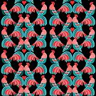 Bright pattern of decorative roosters by Tanor