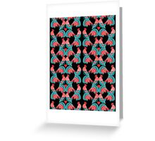 Bright pattern of decorative roosters Greeting Card
