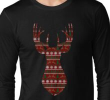 Holiday Pattern Deer Bust Long Sleeve T-Shirt