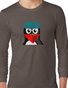 Crook Penguin Artwork for Black hat Coders and Nerds  Long Sleeve T-Shirt