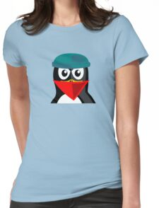 Crook Penguin Artwork for Black hat Coders and Nerds  Womens Fitted T-Shirt