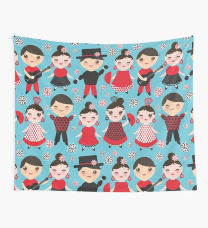 Happy flamencos on blue Wall Tapestry