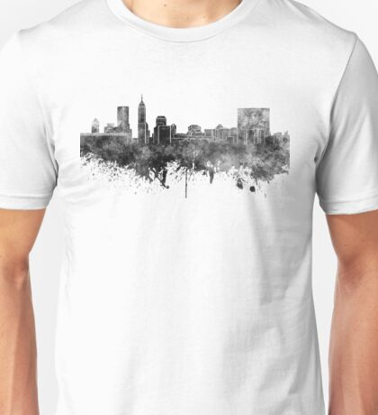 Indianapolis skyline in black watercolor on white background Unisex T-Shirt