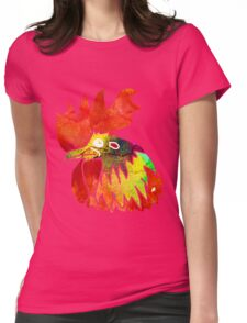 Watercolor Rooster. Red Fire Chicken on Chinese zodiac. Womens Fitted T-Shirt