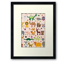 Funny cartoon animals on pink Framed Print