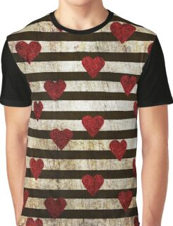 Grunge pattern with red glitter textured hearts confetti print on black white striped background Graphic T-Shirt