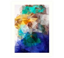 Abstract background of triangles polygon print. Bright design colors Art Print