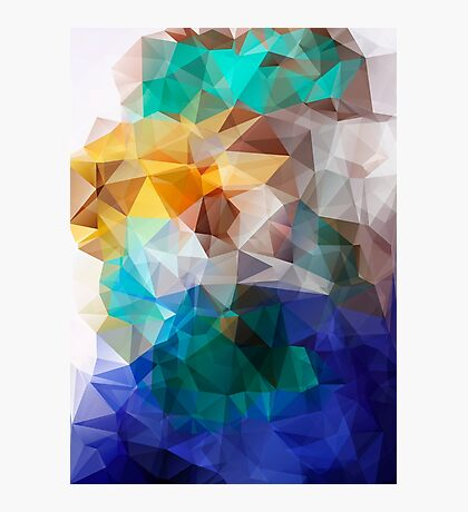 Abstract background of triangles polygon print. Bright design colors Photographic Print