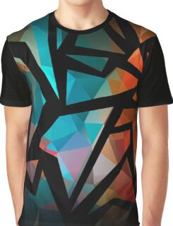 Abstract background of triangles polygon print. Bright dark design colors Graphic T-Shirt