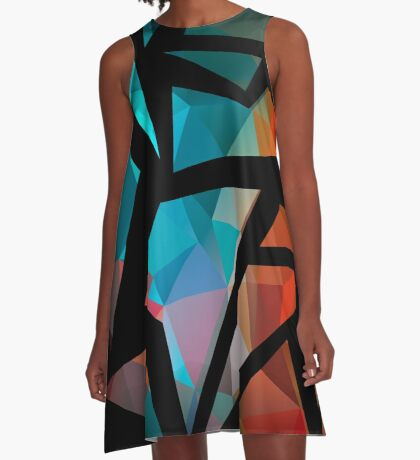 Abstract background of triangles polygon print. Bright dark design colors A-Line Dress