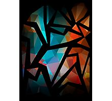 Abstract background of triangles polygon print. Bright dark design colors Photographic Print
