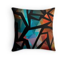 Abstract background of triangles polygon print. Bright dark design colors Throw Pillow