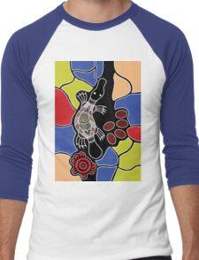 Authentic Aboriginal Art - Platypus Dreaming Men's Baseball ¾ T-Shirt