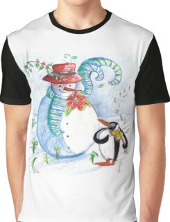 SNOWMAN AND PENGUIN'S WINTER SERENADE Graphic T-Shirt