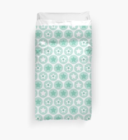 Geometric kids blue circles and stars seamless pattern on white background Duvet Cover