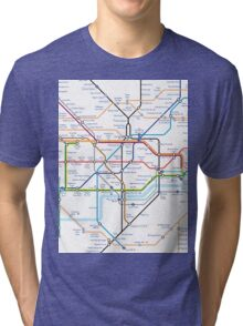 London Underground Tube Map as Anagrams Tri-blend T-Shirt