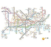 London Underground Tube Map as Emojis Photographic Print