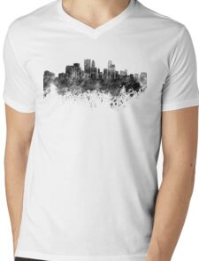 Minneapolis skyline in black watercolor on white background Mens V-Neck T-Shirt