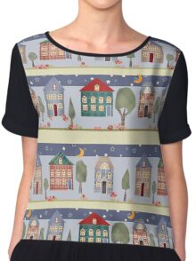 Kids patchwork seamless pattern with houses and trees Chiffon Top